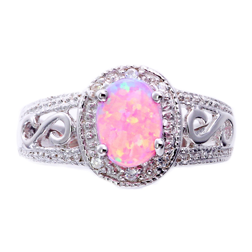 Synthetic Oval Pink Opal Sterling Silver Filigree Shank Women Halo ...