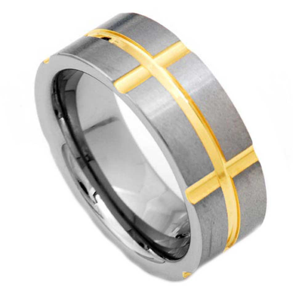 8mm Tungsten Gold Gp Grooved Cross Pip Cut Satin Men S Wedding Ring